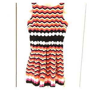 London Times Chevron & Polka Dot Sleeveless Dress